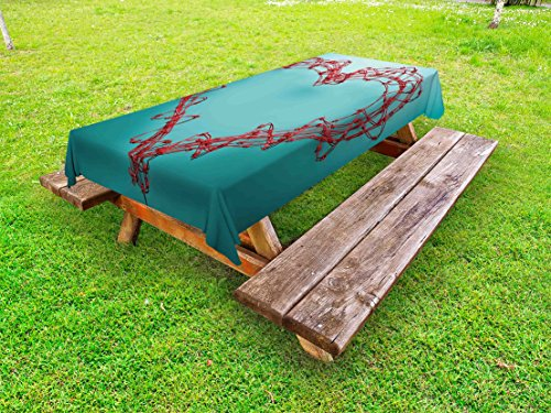 Standard Boundary Wire - Lunarable Barbed Wire Outdoor Tablecloth, Barbed Wire in Heart Shape Thorny Boundary Rustic Creative Design Artwork, Decorative Washable Picnic Table Cloth, 58 X 104 Inches, Red Turquoise