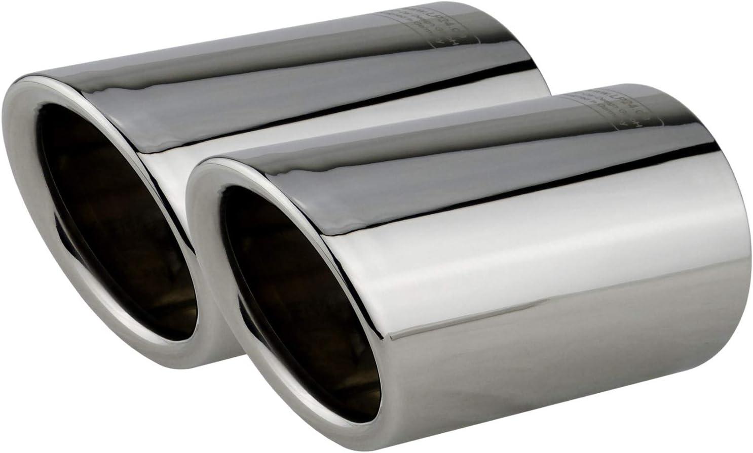 L P A290 2 Auspuffblenden Auspuffblende Chrom Edelstahl Spiegel Poliert Plug Play Endrohrblenden Endrohrblende Auspuff Blende Für 60mm Endrohre Auto