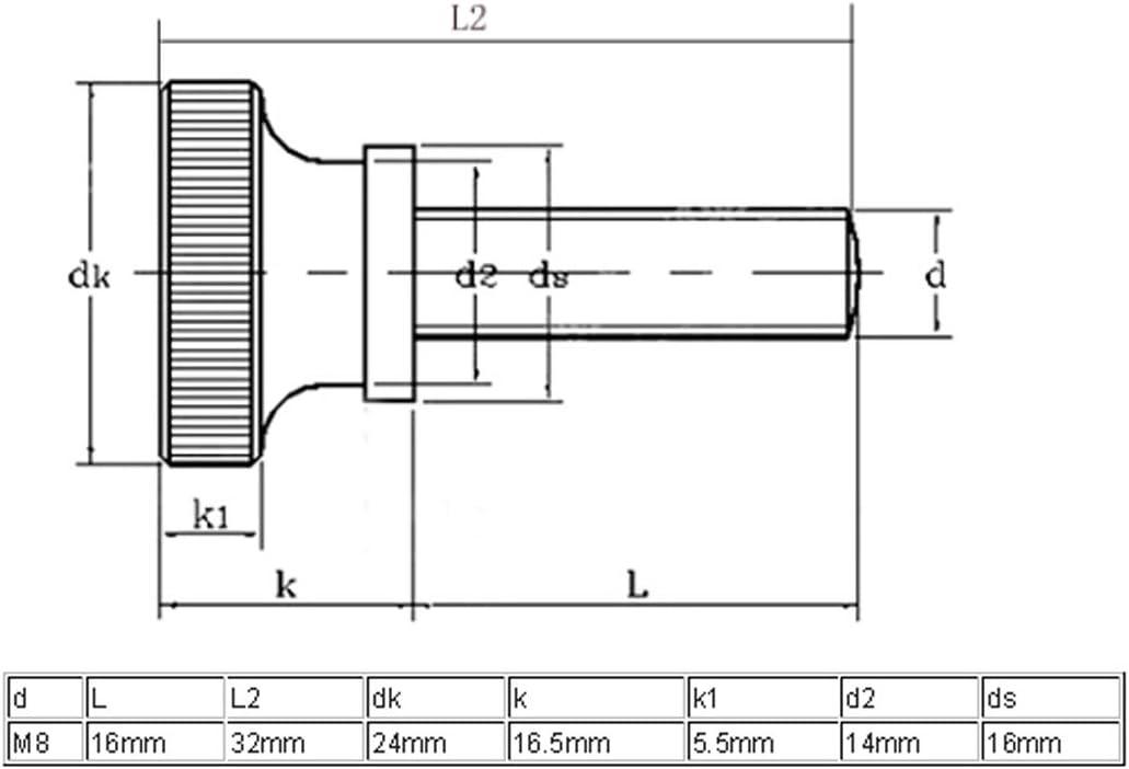 sourcingmap 2 St/ück M8x16mm Flache R/ändelschrauben mit Vollgewinde R/ändelschrauben Schrauben DE de