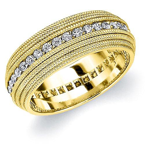 18K Yellow Gold Diamond 4 Row Milgrain Eternity Ring (.75 cttw, F-G Color, VVS1-VVS2 Clarity) Size 10.5 (Ring Vvs2 Yellow)