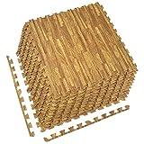 Sorbus Interlocking Floor Mat – Multipurpose Foam Tile Flooring with Borders – Home, Office, Playroom, Basement, 48 Sq ft (Wood Grain - Light, 12 Tiles)