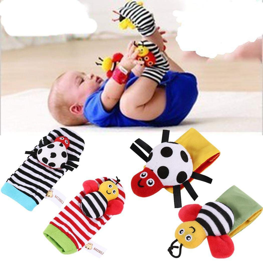 Pinsparkle Cute Infant Baby Cartoon Animal Shape Wrist Rattles Foot Socks Finder Toys