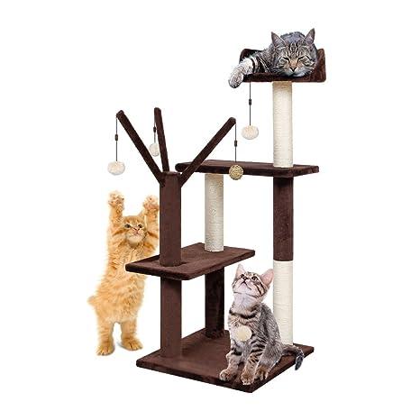 Finether-Árbol para Gatos Rascador con Plataforma y 5 Bolas de Juego, 106cm