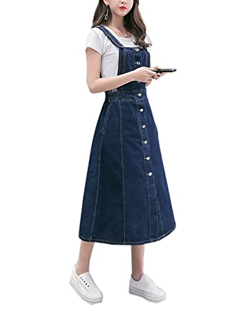4b5a7ef12c4 Gihuo Women s Button Down A-Line Denim Overall Dress Casual Midi Skirt at Amazon  Women s Clothing store