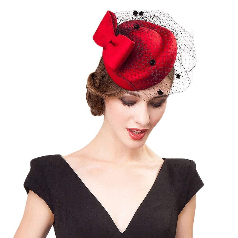 FADVES Womens 100/% Wool Felt Fascinators Pillbox Hats Wedding Cocktail Hats Bow Veils