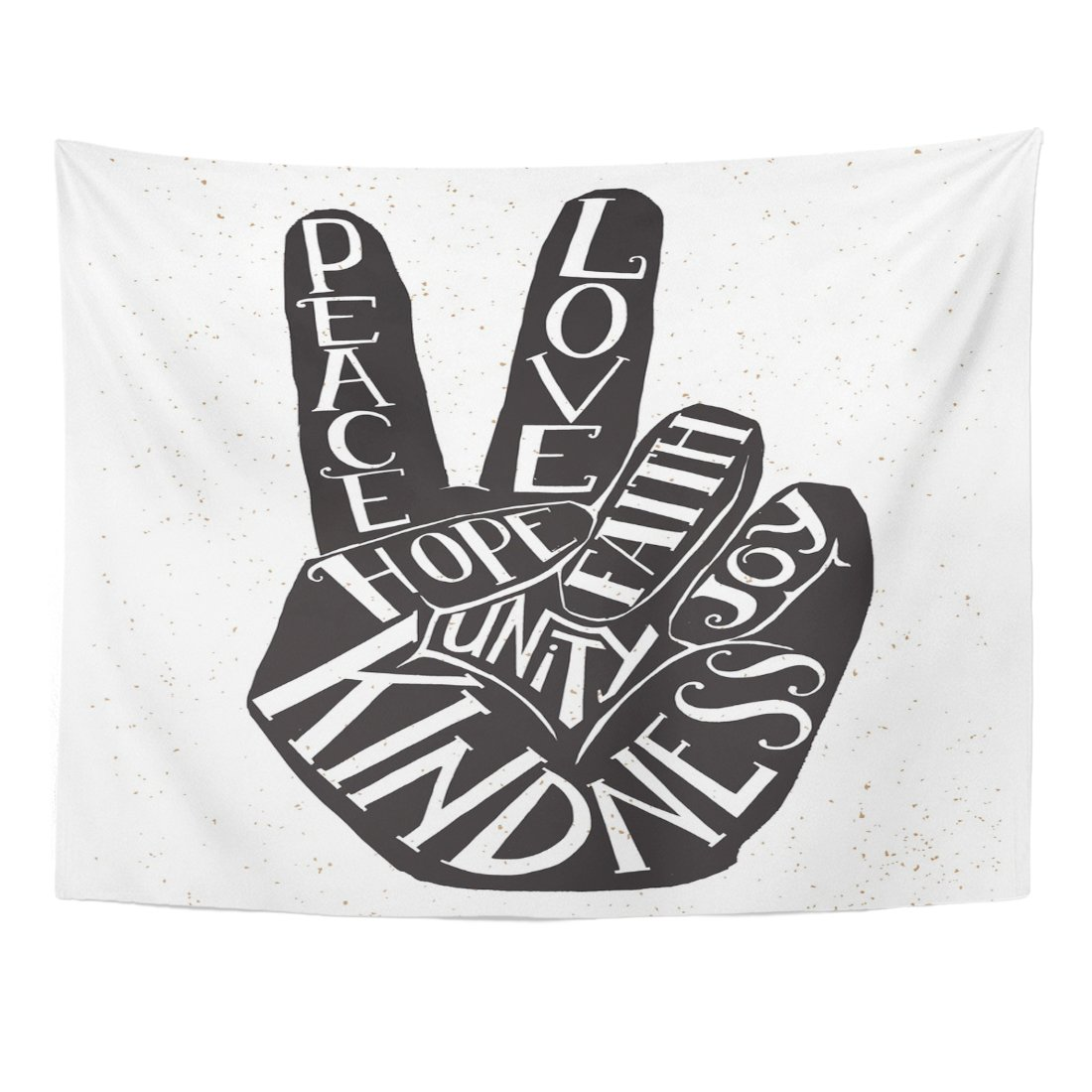 Breezat Tapestry Lettering Peace Sign Hand Showing Two Fingers with Values Words Love Faith Joy Hope Kindness Unity Home Decor Wall Hanging for Living Room Bedroom Dorm 60x80 Inches