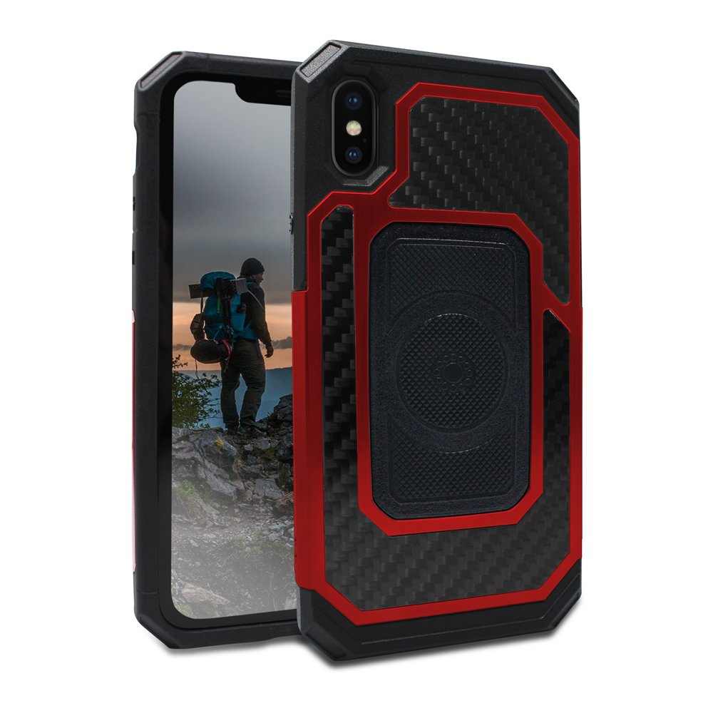 Rokform Fuzion Pro Series [iPhone X/XS] Protective Aluminum & Carbon Fiber Magnetic case with Twist Lock Insert Included (Red)