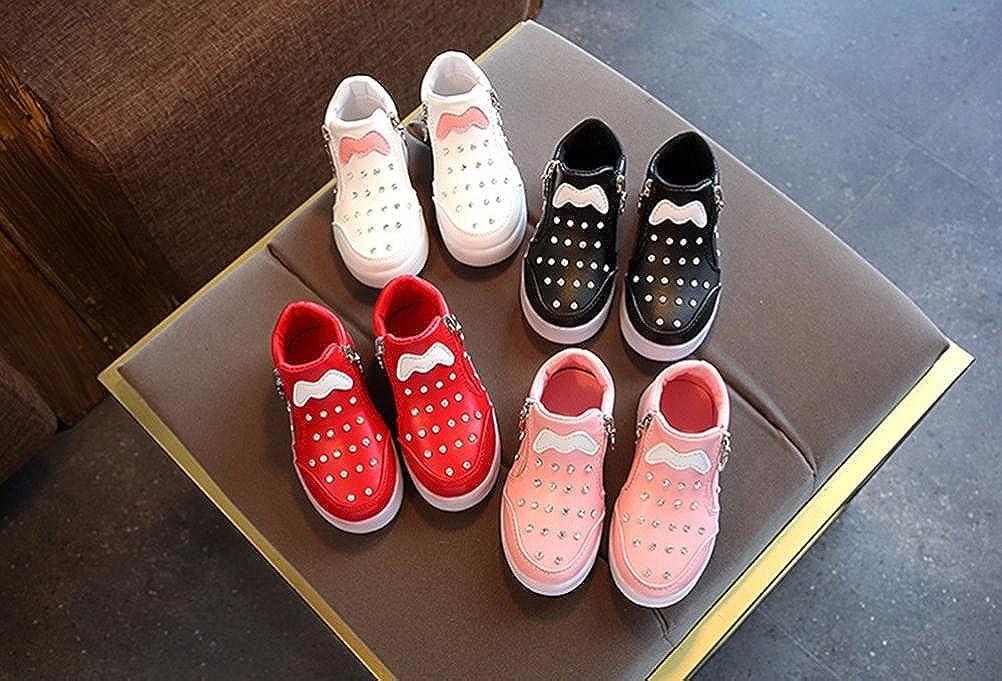 Digood Toddler Baby Kids Girls Boys Zipper Premium LED Light Up Luminous Soft Sole Sneakers Shoes