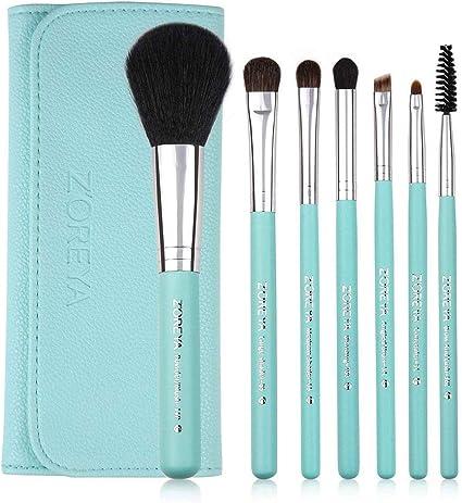 ZOREYA ZS77 - Juego de 7 brochas de maquillaje con estuche para brochas de maquillaje, color verde: Amazon.es: Belleza
