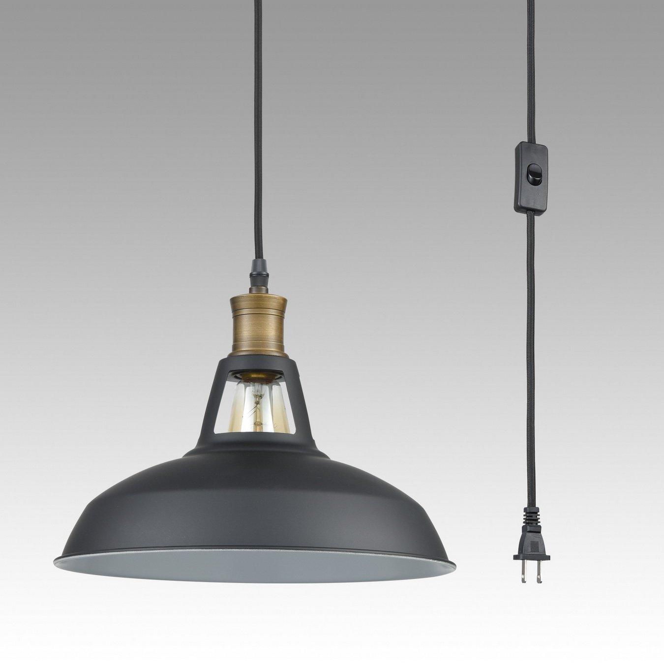 YOBO Lighting Industrial Plug-in Pendant Light With 9.8 Ft