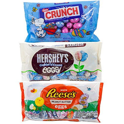 Hershey Cookies 'n' Creme Mini Eggs, Nestle Crunch Milk Chocolate with Crisped Rice Mini Eggs and White Reese's Peanut Butter Mini Eggs | Snoopy From Movie Peanut | Easter Treats and Spring Gifts.
