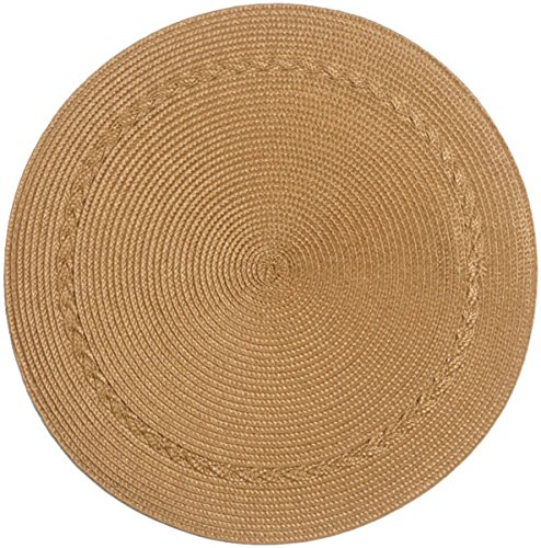 Kay Dee Designs A8899S Easy Living, Wipe Clean, Round Placemats, Set of 4,Gold