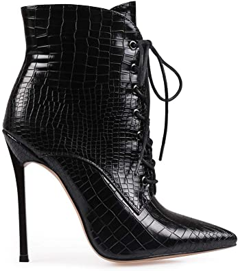 Pointed Toe Ankle Boots Lace