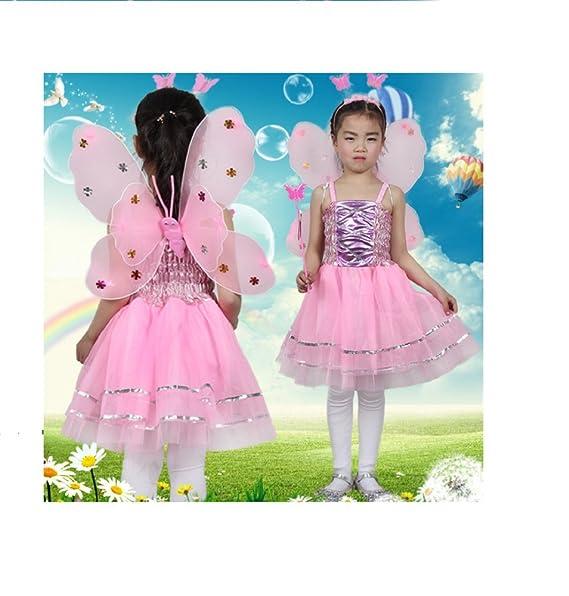 MATISSA Kids 4 Pcs Complete Butterfly Fairy Costume Set Butterfly Wings  Alice Headband Tutu Dress U0026