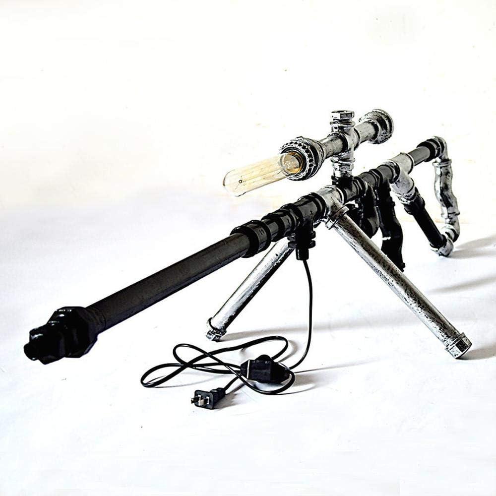 CZPF Lámpara De Mesa Europea Moderna Retro Hierro Forjado Todo Metal Rifle De Francotirador Pipa De Agua 112 * 38 * 30 Cm