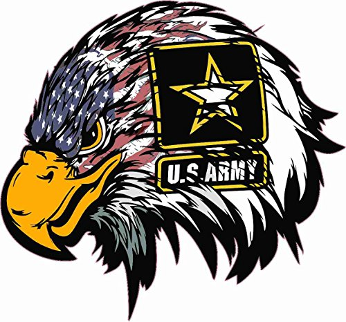 (Techstore stickers Patriot 003 -US Army American Flag Eagle Head Decal Sticker, Bumper Sticker, Back Windows, Cars, Trucks, Laptops (12