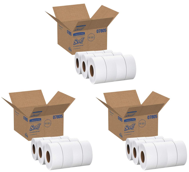 Scott QYGSYNHU Essential Jumbo Roll JR. Commercial Toilet Paper (07805), 2-PLY, White, 1000' / Roll, 3 Case of 12 Rolls