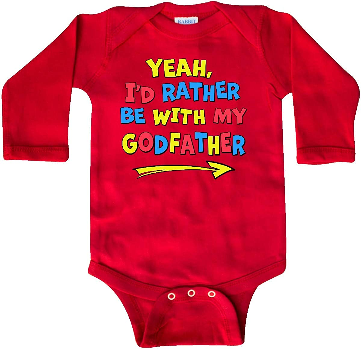 inktastic Yeah Id Rather Be with My Godfather in Red Yellow Long Sleeve Creeper
