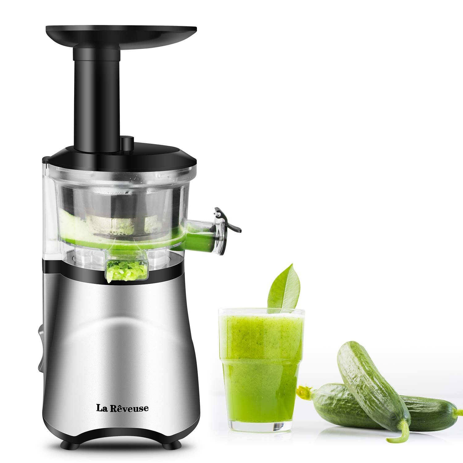 La Reveuse Slow Masticating Juicer Extractor with Quiet Motor Reverse Function and Clean Brush Easy to Operate & Clean -BPA Free (Silver) by La Reveuse