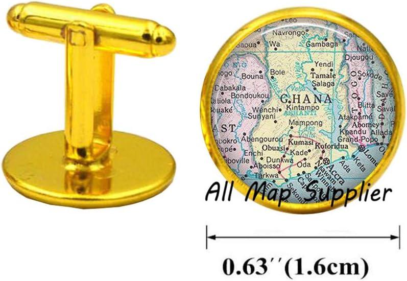 Charming Cufflinks,Ghana map Cuff Links,Ghana map Cufflinks,map Jewelry,Ghana Cuff Links,Adoption Cuff Links Ghana Cufflinks,A0151