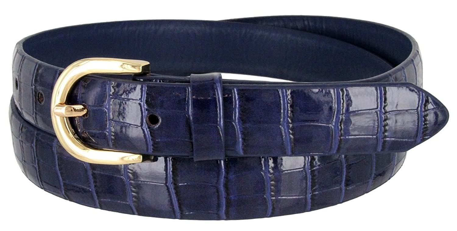 Women's Skinny Alligator Embossed Leather Casual Dress Belt with Buckle 7035 (Navy, Large)