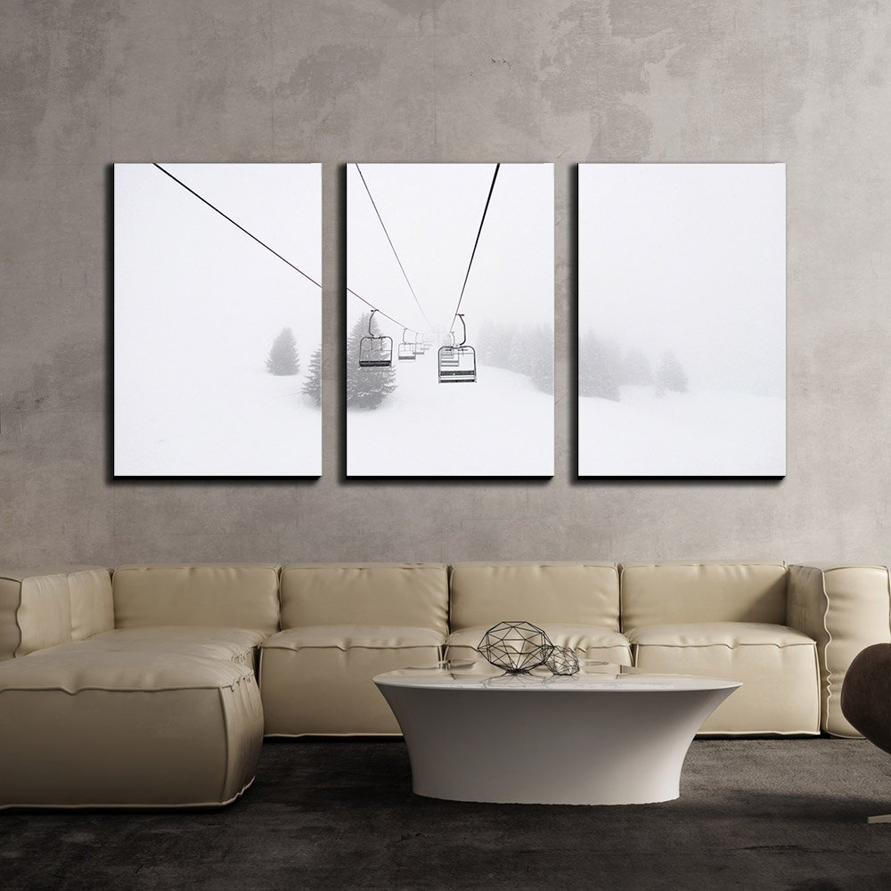 "wall26 - 3 Piece Canvas Wall Art - Ski Lift in Winter - Modern Home Decor Stretched and Framed Ready to Hang - 16""x24""x3 Panels"