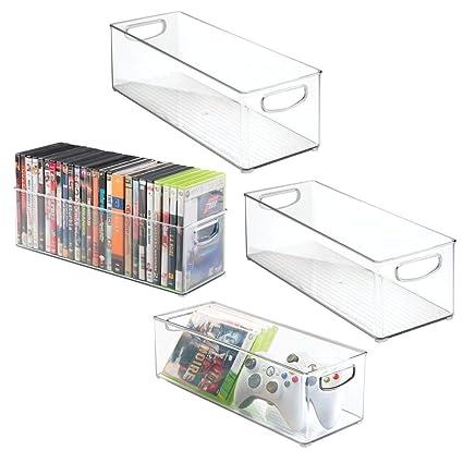 mDesign bandejas de plastico para CDs - Estanteria para CDs, DVD o videojuegos - Pack