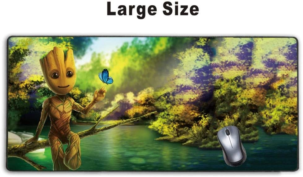 Extended Gaming Mouse Pad Baby Groot Artwork Guardians of The Galaxy Vol 2,Stitched Edge and No-sliped Large Desk Mat, Mousepad for Game Computer Keyboard, PC and Laptop