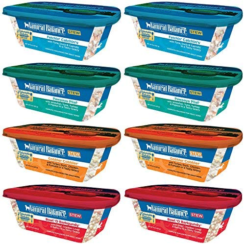 Natural Balance Grain Free Delectable Delights Dog Food Stew in 4 Flavors - Gobbler Cobbler, Bowl O Burgundy, Pawpaya Pilaf, & Fetchin' Catchin's - 8 Tubs Total (8 Ounces Each)