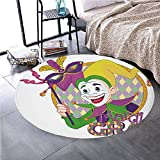 Memory Foam Round Area Rug Floor Kitchen Carpet, Mardi Gras,Cartoon Design Of Mardi Gras Jester Smiling And Holding A Mask Harlequin Figure Decorative,Multicolor, Soft Flannel Non-Slip Absorbent Mat №
