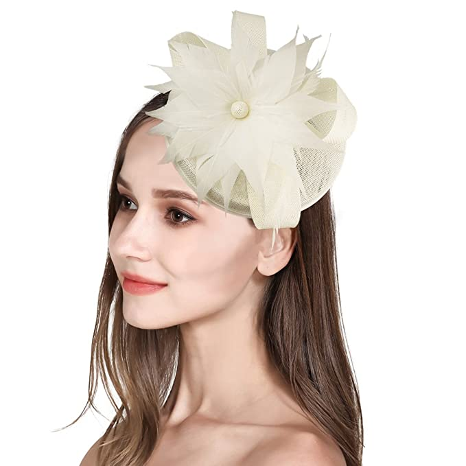 d7bd7f9e Sinamay Fascinator Feather Fascinators for Women Pillbox Hat for Wedding  Party Derby Royal Banquet Beige