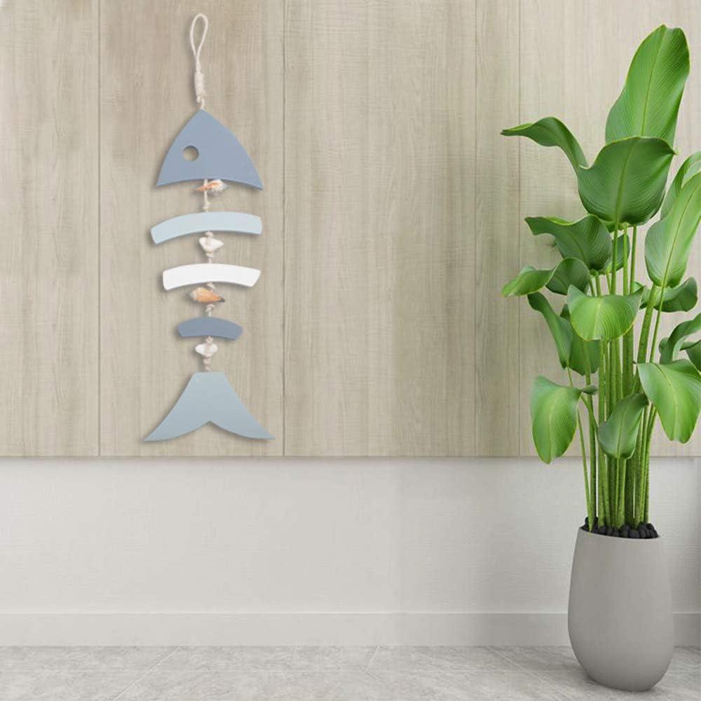 Blu Decorazioni per Parete Porta Appesa Ornamento Spiaggia Tema Giardino Ufficio Decorazione Domestica YiYa Decorazioni in Legno Lische di Pesce con Perline per Decorazione Nautica