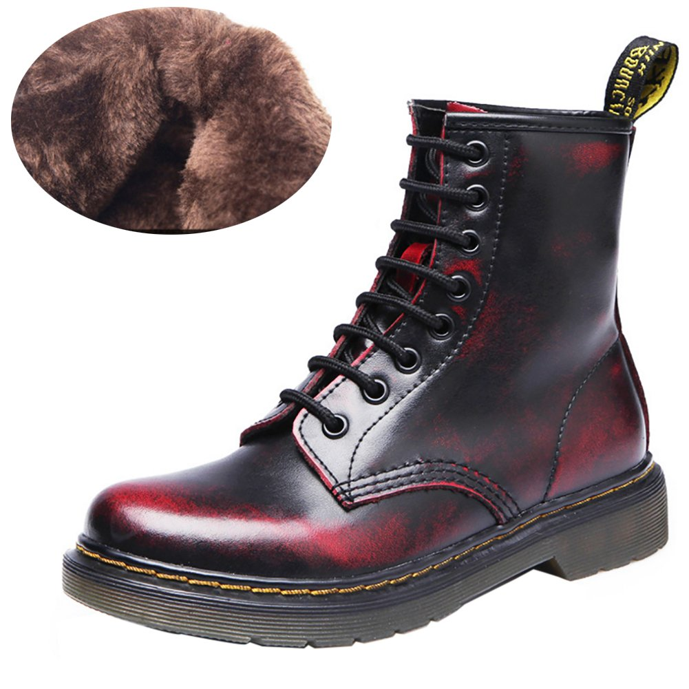 VOCOSI Women's 608 Retro Cap-Toe Low Heels Ladies Leather Ankle Combat Boots B07597BMTB 9 B(M) US|Red (Fur Lining)