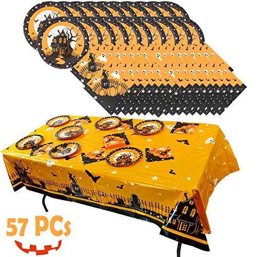 Spooktacular Creations Halloween Party Tableware Set Including Table Cover (54