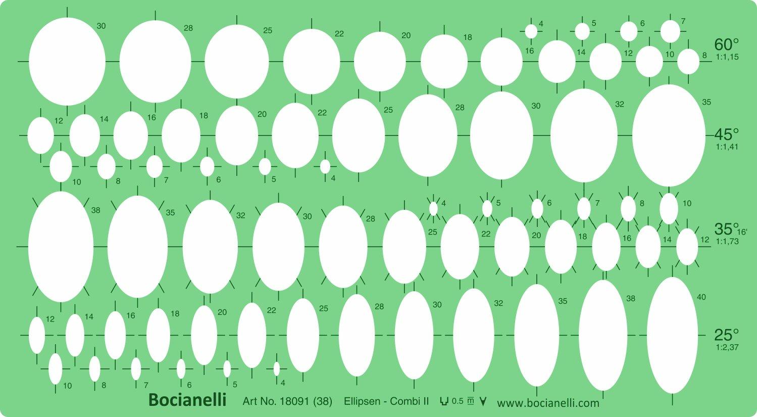 ellisse Ellissi 25354560gradi forma figura simboli redazione disegno template stencil Bocianelli CAD-IM-18091