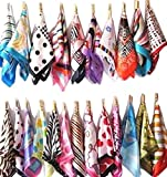 5pcs Mix Style Silk Feel Square Neck Hand Hat Purse Bag Sash Hair Scarf Shawl Wrap