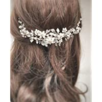 Simaly brud bröllop hårkam blomma silver brud huvudstycke kristall hårtillbehör för kvinnor och flickor