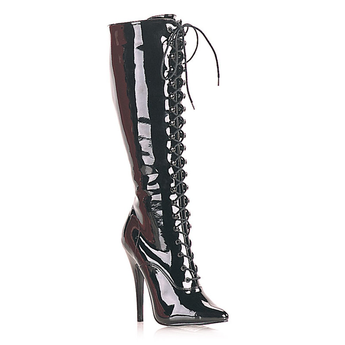 ae18988831e93 Amazon.com | Summitfashions 5 Inch Sexy Knee High Boot Pointed Toe Lace Up  Black | Knee-High