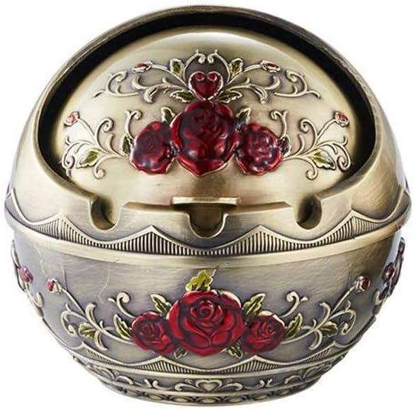 灰皿, 、サイズ:ミディアム、カラー:ミディアム:ふたメタル灰皿ファッション人格ホームオフィスのデスクトップデコレーション灰皿Sナンバーマルチサイズオプション(Sサイズ)付灰皿ヨーロッパのレトロ (Color : Medium, Size : Medium)
