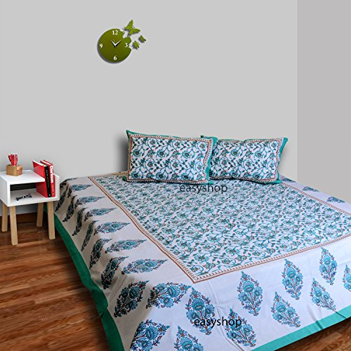 Price comparison product image traditional mafia 3 Piece Floral Bedding Bedsheet and 2 pillow Covers, King, Water Blue