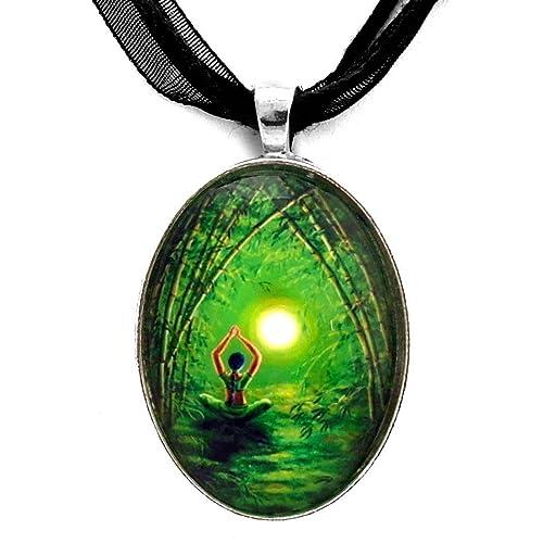 Amazon green tara goddess pendant necklace bamboo yoga handmade green tara goddess pendant necklace bamboo yoga handmade jewelry tibetan buddhism mozeypictures Gallery