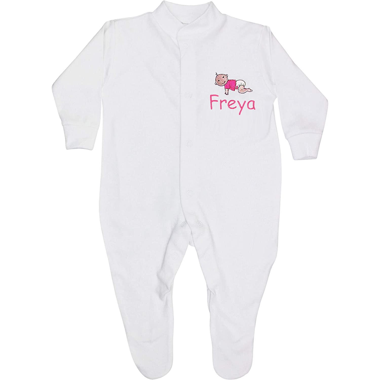 TeddyTs Baby Boys /& Girls Personalised White Baby All in One Sleepsuit