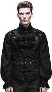 Devil Fashion Uomo Vestito Sottile da Stampa con Stampa a bottoncino Gotico, Giarrettiera Nera con Collare Nero, 6 Misure