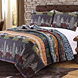 MISC 3pc Blue Green Orange Grey King Quilt Set, Cotton, Rustic Cabin Wildlife Bears Pattern Themed Bedding Animal Lodge Cottage Nature Outdoors Forest Wild Wilderness Trees
