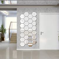 Sunm Boutique Hexagon Mirror 12 PCS Geometric Hexagon Mirror Removable Hexagon Mirror Art DIY Home Decorative 3D Hexagonal Acrylic Mirror Wall Stickers for Room Decor