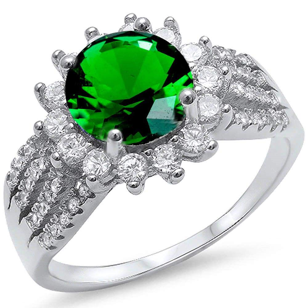 Princess Kylie Round Clear Cubic Zirconia Sunflower Ring Sterling Silver