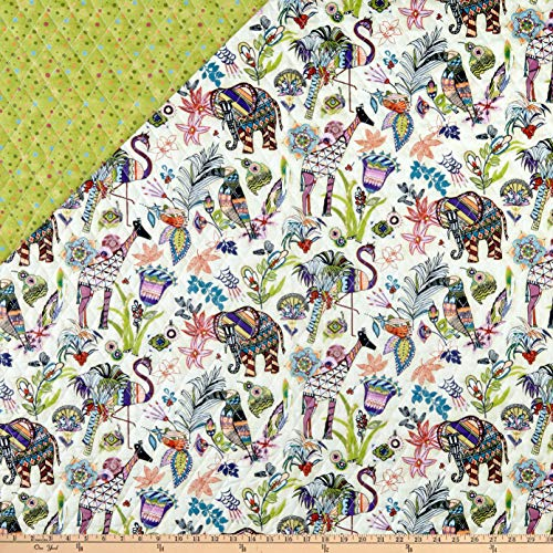 Fabri-Quilt Paintbrush Studio Fabrics Ubuntu Pre-Quilted Multicolored Fabric by the Yard Double Sided Pre Quilted Fabric