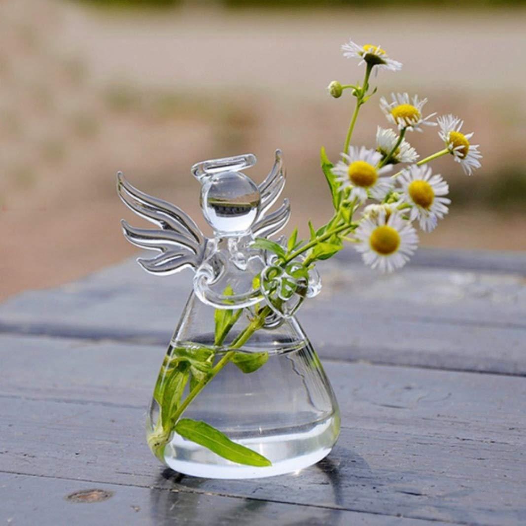 conteneur hydroponique cr/éatif de Mode Moderne pour la d/écoration de Jardin Salon Bureau /à la Maison XINTECH DIY Clair Ange Vase Suspendu en Verre