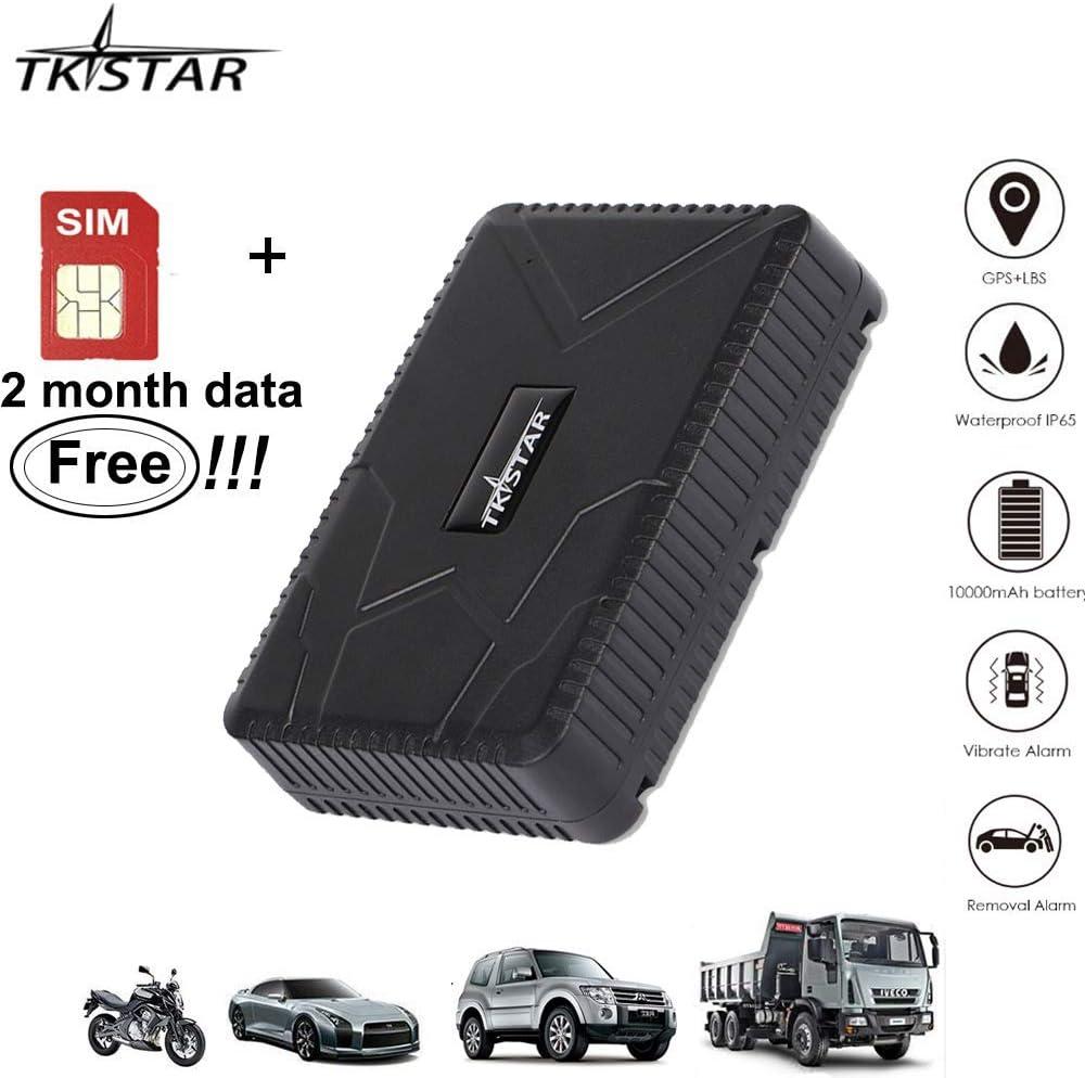 Tiempo Real Mini Portátil Localizador GPS, Incluye Tarjeta SIM con Plan de Datos para Seguimiento vehículo Coche Personal GPS Tracker Batería 10000mAh (TK915)