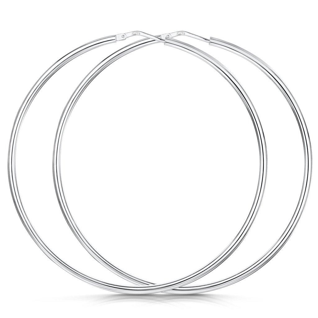 Amberta® 925 Sterling Silver Fine Circle Hinged Hoops - Round Creole Sleeper Earrings Diameter Size: 7 10 15 20 25 35 45 55 mm GS-S925-HOOP-007